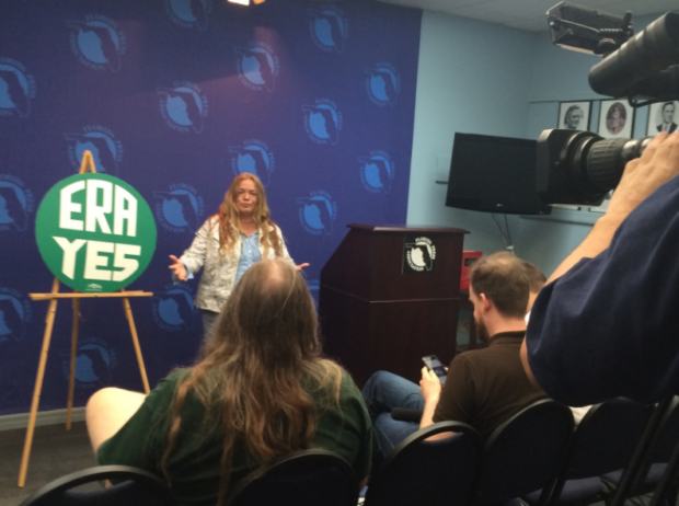 Helene de Boissiere addresses the Florida press in May 2015 on her historic 7000 -mile pilgrimage that to Nevada's ratification first state in over 35 years to ratify. Photo Credit Linda Miklowitz.